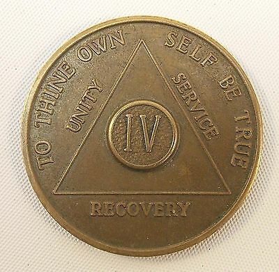 Vintage AA Alcoholics Anonymous 4 Year Token AA BACK,  IV,  Four Years Sober