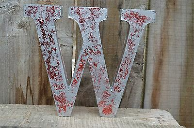Medium Vintage Style 3D Red W Shop Sign Letter Tin Wall Art Letter Font
