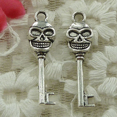 free ship 180 pieces Antique silver skull key charms 33x10mm #3544