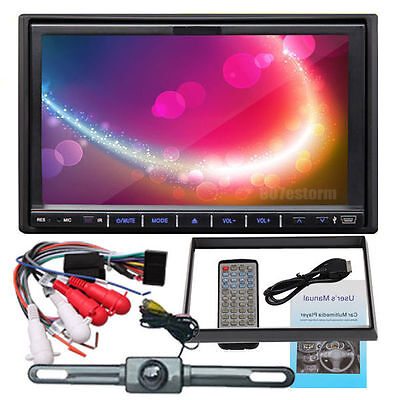 """7"""" In Dash 2 Din HD Car Stereo DVD Player Touch Screen FM Radio USB SD FREE CAM"""