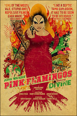 """""""PINK FLAMINGOS""""..  Classic Adult Comedy Movie Poster A2 A3 A4 Sizes"""
