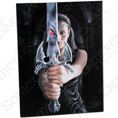 Fantasy Gothic Art Canvas Wall Plaque~Dragon Reflect~by Anne Stokes~14~uk seller