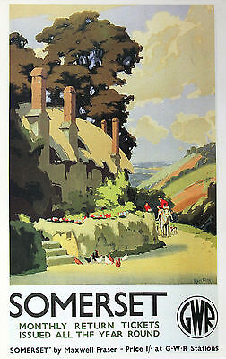 """""""SOMERSET"""" 2 GWR  Vintage Railway Poster A1,A2,A3,A4 Sizes"""
