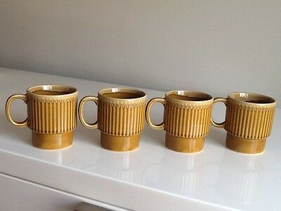 Set of 4 Vintage Stacking Mugs / Cups - Made in Japan