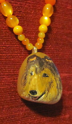 Collie - rough painted on Citrine nugget pendant + necklace