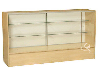 "70"" Maple Full Vision Showcase Display Case Store Fixture KNOCKED DOWN #SC-SC6M"