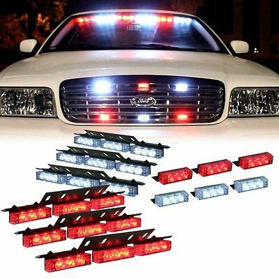 Red and White 54 X LED w/ 18 X LED Emergency Vehicle Strobe Lights for Front Gr.
