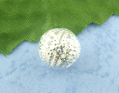 50Pcs Silver hot Filigree Ball Spacer Beads 12mm Dia