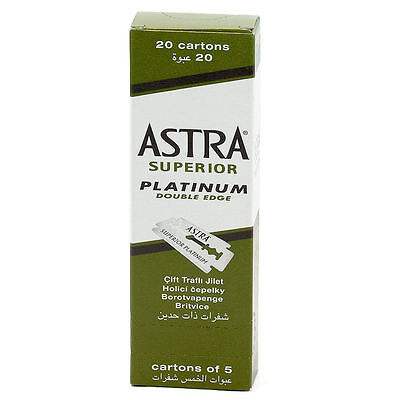 100 X Astra Superior Platinum Double Edge Safety Razor Blades FREE SHIPPING