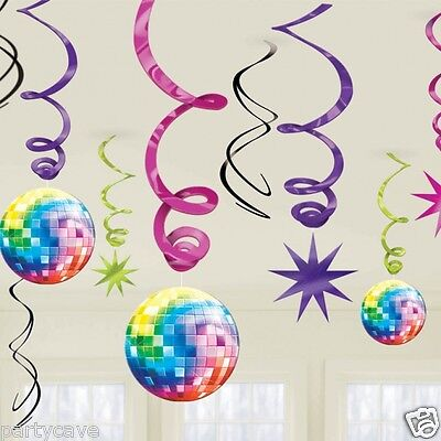 70's 80's DISCO FEVER PARTY 12 VALUE PACK HANGING CEILING SWIRLS DECORATION KIT