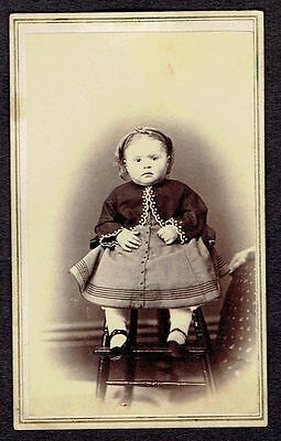 O338 CHUBBY LITTLE BABY SITTING ON CHAIR OLD Vintage Photo/Snapshot CDV