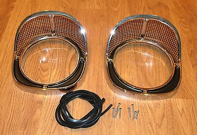 1957 CHEVY HEADLIGHT HEAD LAMP CHROME BEZELS , NEW  Made in USA