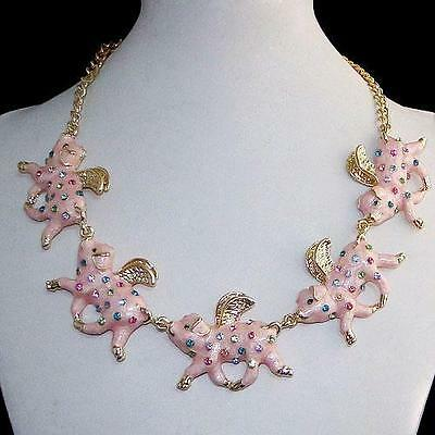Five Pig When Pigs Fly Necklace Multi Austrian Rhinestone Crystal