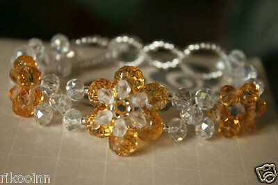 New Swarovski Crystal Yellow / Clear Beads Fashion Bracelet Stretch