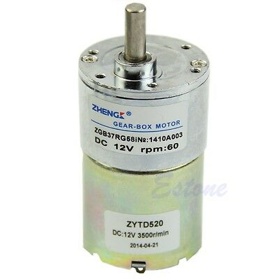 12V DC 60RPM High Power Torque Gear Box Control Speed Electric Motor Replacement