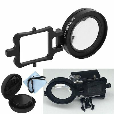16x AF HD Macro Magnificatio Lens Filter+Adapter Ring For GOPRO HERO3+ 4 Housing