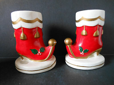 Vintage NAPCO Japan Santa Boot Candle Holder PAIR 1962 Groovy Christmas Ceramic