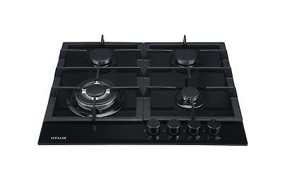 Saga Lenis X640-B 60cm 4 Burner Glass Gas Hob with Cast Iron Pan Stands