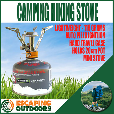 Portable Quality Mini Gas Camp Stove for hiking with Hard Case Piezo Ignition