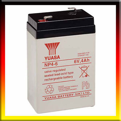Yuasa Rechargeable 6 Volt 4Ah Battery Electric Toy Car Injusa Torch Perego