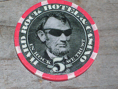 $5 LINCOLN IN SHADES GAMING CHIP  FROM THE HARD ROCK CASINO LAS VEGAS