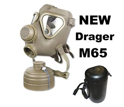 NEW German Drager M65 Gas Mask w/ unissued NATO 40mm Filter and Case
