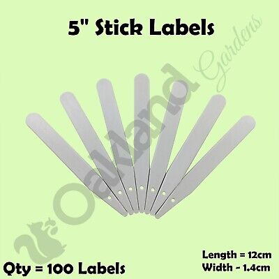 """100 x 5"""" White Plastic Plant Stick in Labels 12.5cm Seed Tray Garden Markers"""
