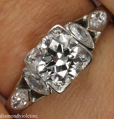1.32CT ANTIQUE VINTAGE OLD EUROPEAN DIAMOND ENGAGEMENT WEDDING RING PLA EGL USA