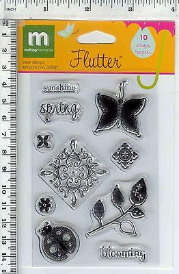 Flutter #33807 Making Memories clear stamps butterfly lady bug spring blooming
