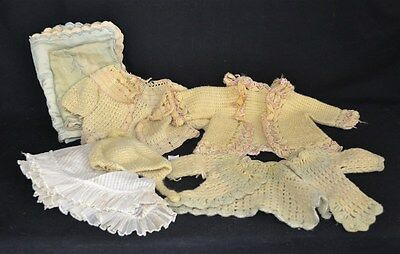 ThriftCHI ~ Mixed Lot Of Antique & Vintage Hand Crochet Baby Clothes & Bedding