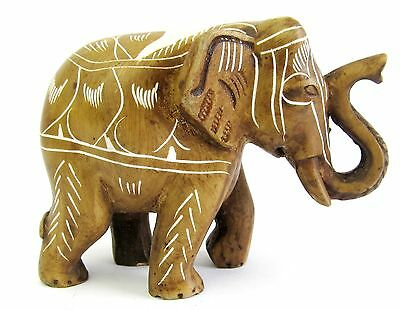 Elephant Figurine-Hand Carved & Painted Resin Natural  White Paint Design 7cm