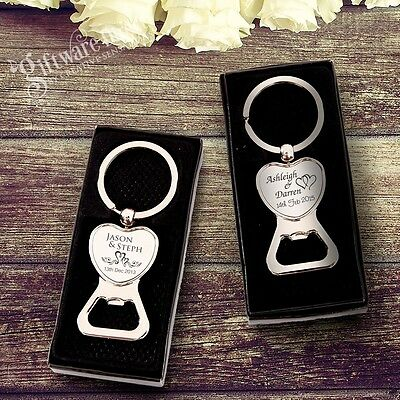 Engraved Chrome Heart Bottle Opener Keyring Wedding Favour Gift Personalised
