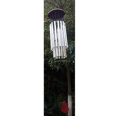 Redwood Silver Tube Wind Chimes Church Bells Hanging Decor 27 Tubes