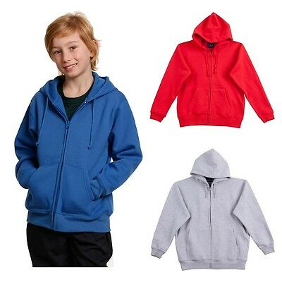 New Kids Boys Girls Zip Up Fleecy Hoodie Sports Jumper Cardigan Top Jacket Hood