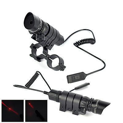 Red Dot Tactical Laser Scope Sight Rifle Gun Rail +Remote Pressure Switch +Mount