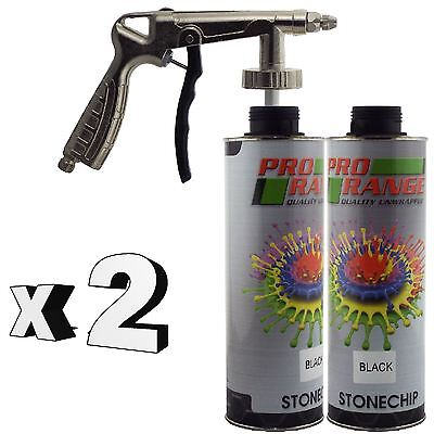 Pro Range 2 x 1 Litre Black Stone Chip + Spray Gun Can be over Painted Paintable