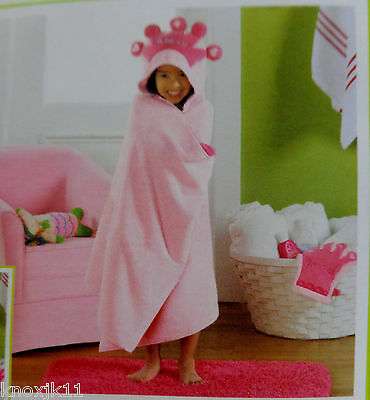 NEW PRINCESS TIARA BATH TOWEL 100% Pink Cotton Girls Baby 50x28 Hooded Wrap NWT!