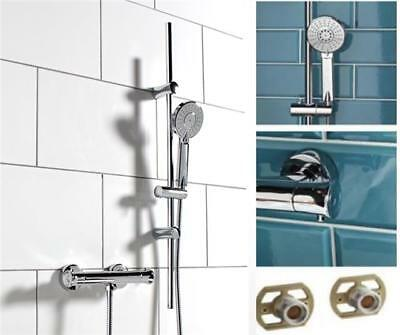 Thermostatic Round Shower Bathroom Bar Mixer Exposed Valve + Riser Rail kit