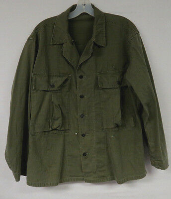 VINTAGE MILITARY SHIRT 50s US ARMY 13 STAR BUTTONS SOLDIERS FATIGUE OD GREEN MED