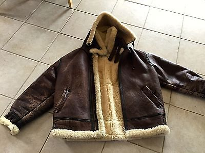 Vintage 1942 Calafate Aviation Leather Jacket w/hood/XL/US Army Air Force 404821