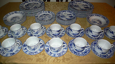 BLUE CANTON BLUE HERON 65 PIECES PLATES CUPS