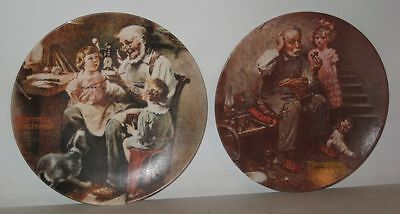 "2 Knowles Norman Rockwell Plates - ""The Cobbler"" & ""The Toy Maker"""
