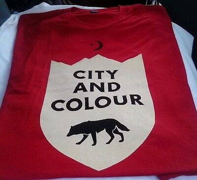 NWT City and Colour Wolf Star & Crescent Adult Rock Band T-shirt - Red Medium