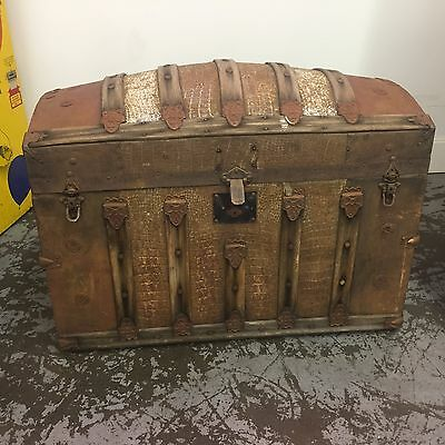 Antique Trunk Dome Top Chest w/ Letter Compartment Alligator Inlay Orig Hardware