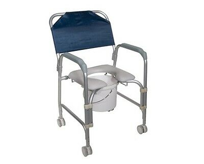 Lightweight Aluminum Shower Commode Chair: with Wheels Shower Bath Seat Chair