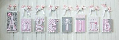 Hanging Name Blocks. Routed Edge, Baby Name Letters. Hanging Wood Letters. Pink