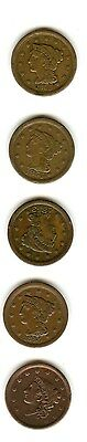 5 Large Cents1838- 1855 Vf-Xf Time To Upgrade