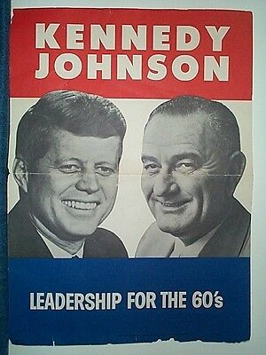 Original 1960 Kennedy Johnson Jugate Campaign Poster - LEADERSHIP FOR THE 60's
