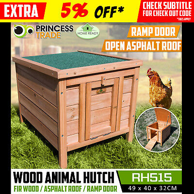 Rabbit Guinea Pig Hutch Wood Cage Chicken Hen Ferret Coop Compact Door Roof