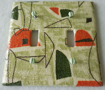 Vintage Midcentury Barkcloth Covered Switchplate